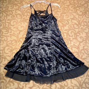 black velvet unif dress skinny straps, tie up back